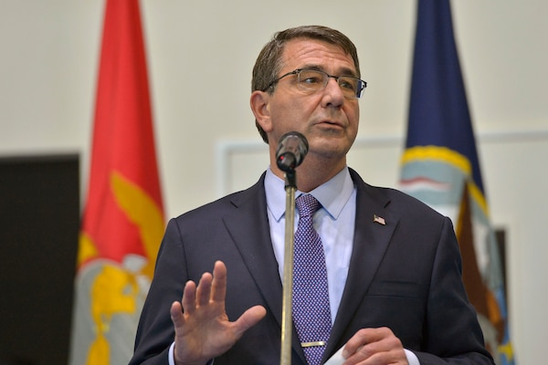 U.S. Defense Secretary Ash Carter delivers remarks during a troop event at U.S. Africa Command headquarters in Stuttgart, Germany, June 4, 2015. Carter is wrapping up a 10-day trip that also took him to the Asia-Pacific region, where he met with allies and partners to advance the next phase of the rebalance. DoD photo by Glenn Fawcett