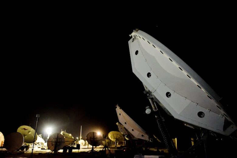 The 379th Expeditionary Operations Support Squadron Silent Sentry operates through an antenna 'farm' of two weapons systems named Rapid Attack Identification Detection Reporting System Deployable Ground Segment 0 and Bounty Hunter, which provide the only Defense Space Control mission throughout the entire AOR. (U.S. Air Force photo/Staff Sgt. Alexandre Montes)