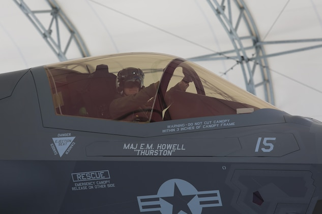 A pilot with Marine Fighter Attack Training Squadron 501 taxies an F-35B Lightning II after returning from the first operational test of the F-35B on board the USS Wasp, May 29. The operational testing is executed to assess the integration of the F-35B, which is scheduled to replace all Marine tactical jet aircraft.