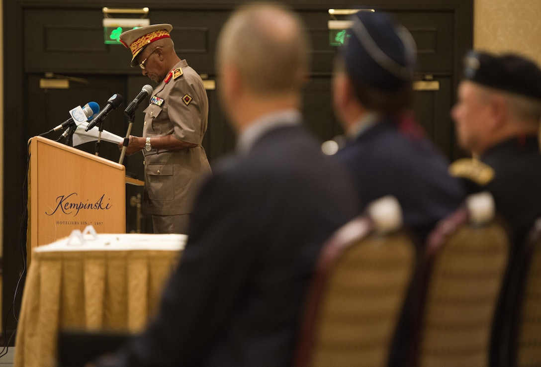 Maj. Gen. Zakaria Cheik Ibrahim, the Djiboutian Armed Forces (FAD) chief of defense, speaks at the Kentucky National Guard and FAD State Partnership Program agreement signing ceremony at the Kempinski Hotel, Djibouti, June 2, 2015. Zakaria spoke about the strong partnership between the U.S. and Djibouti that began with both countries' commitment to fight terrorism after 9/11, which led to the American presence at Camp Lemonnier, Djibouti. (U.S. Air Force photo/Staff Sgt. Nathan Maysonet)