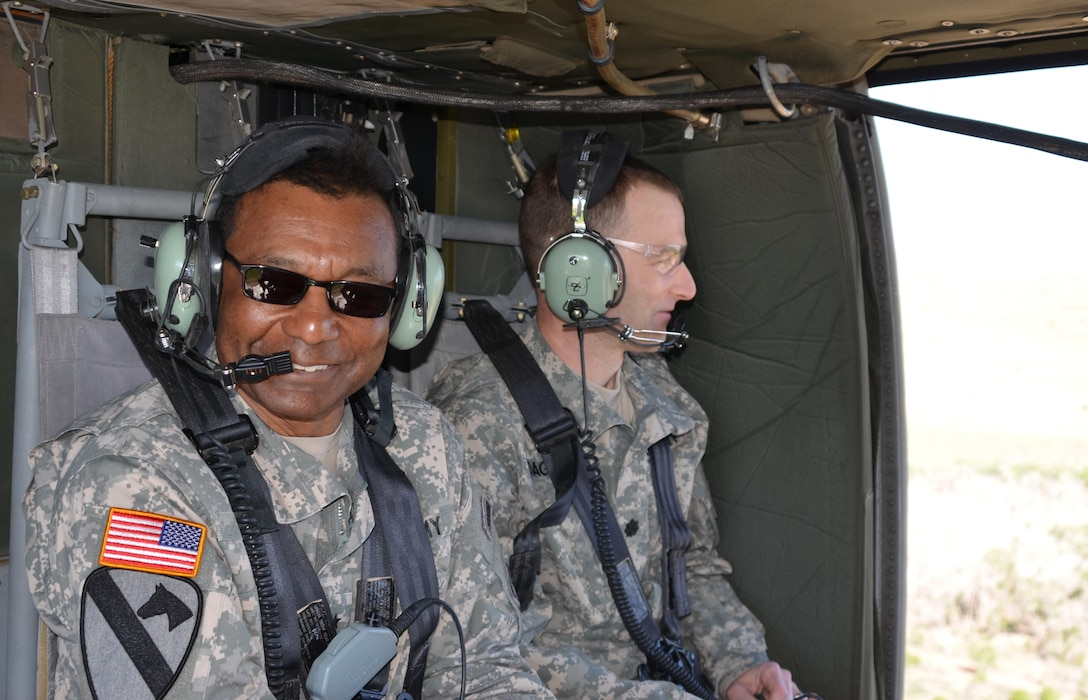 US Army Chief of Engineers and USACE Commanding General Lt. Gen. Thomas Bostick (left) and Albuquerque District Commander Lt. Col. Patrick Dagon took a helicopter tour June 4, 2015, to view work being done to protect Santa Clara Pueblo from increased flood risks caused by the 2011 Las Conchas Fire.
