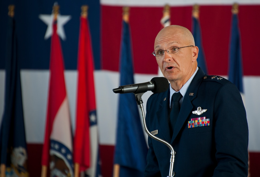 Maj. Gen. Arnold Bunch, Air Force Test Center commander, speaks about the wing and its previous and new commanders during the 96th Test Wing change of command ceremony June 4 at Eglin Air Force Base, Fla.  (U.S. Air Force photo/Samuel King Jr.)