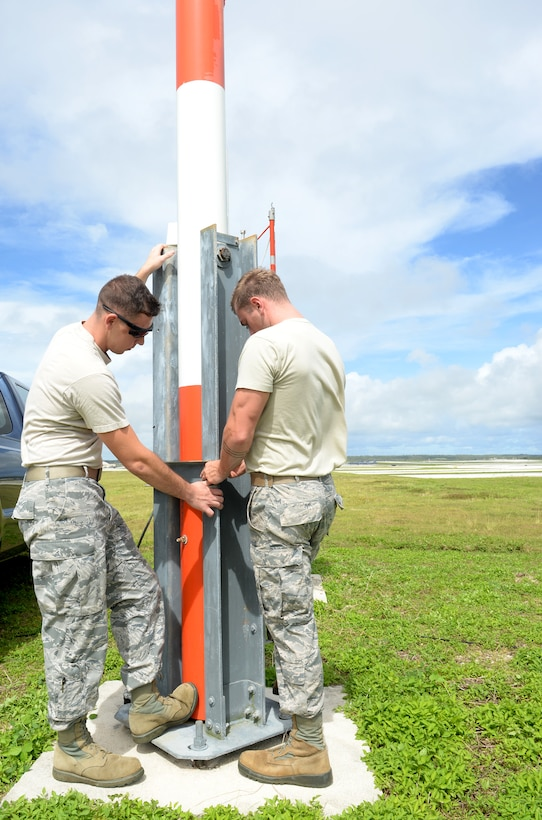 Airfield systems Airmen from the 36th Operations Support Squadron return the wind bird to standing position after performing checks on the instrument's performance June 2, 2015, at Andersen Air Force Base, Guam. The instrument is a sensor that determines the direction of the wind and is one of many sophisticated pieces of equipment maintained by airfield systems technicians to ensure aircrews remain safe throughout their missions. (U.S. Air Force photo by Senior Airman Amanda Morris/Released)