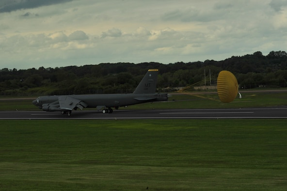 A B-52 Stratofortress assigned to the 5th Bomb Wing at Minot Air Force Base, N.D., arrives at Royal Air Force Fairford, England, June 5, 2015. During the short-term deployment, three Minot-based B-52 bombers, supported by more than 330 Air Force Global Strike Command Airmen, conducted training flights with ground and naval forces around the region and participated in multinational exercises Baltops 2015 and Saber Strike 2015, over international waters in the Baltic Sea and the territory of the Baltic states and Poland. (U.S. Air Force photo/Senior Airman Malia Jenkins)