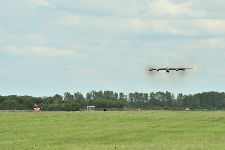 A B-52 Stratofortress assigned to the 5th Bomb Wing at Minot Air Force Base, N.D., arrives at Royal Air Force Fairford, England, June 5, 2015. During the short-term deployment, three Minot-based B-52 bombers, supported by more than 330 Air Force Global Strike Command Airmen, conducted training flights with ground and naval forces around the region and participated in multinational exercises Baltops 2015 and Saber Strike 2015 over international waters in the Baltic Sea and the territory of the Baltic states and Poland. (U.S. Air Force photo/Senior Airman Malia Jenkins)