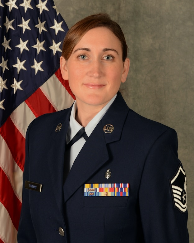 Master Sgt. Nicole Thomas recently won the Connecticut Air National Guard Outstanding Senior NCO of the Year award for her work as the superintendent of nursing services in the 103rd Medical Group, Bradley Air National Guard Base, East Granby, Conn. (U.S. Air National Guard photo by Senior Airman Emmanuel Santiago)