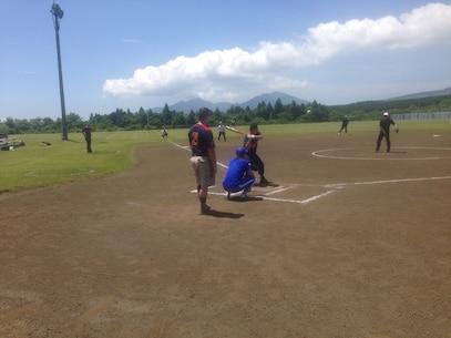 Sgt Lyons looks to crush the ball during the 1st Annual Camp Fuji - JGSDF - Fuji Friendship Association Sports Tournament.