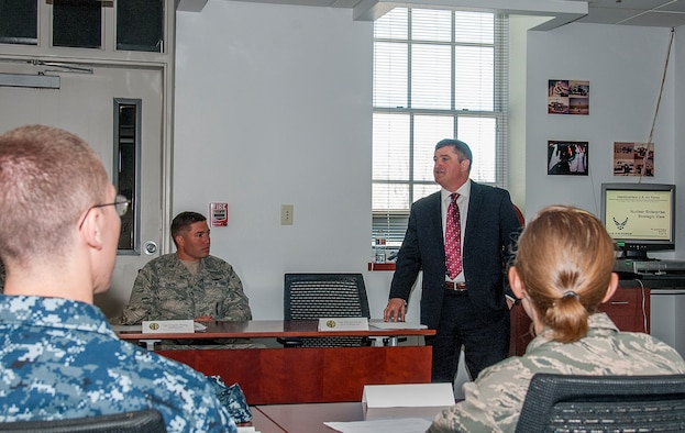 Zannis M. Pappas, Chief, Functional Authority Division, Nuclear and Missile Operations Career Field manager, briefs students in the 20th Air Force ICBM Center of Excellence June 8, 2015, about the current political climate surrounding the nuclear deterrence mission and how it has changed since the Cold War. Intrustors in the Advanced  ICBM Course cover an array of topics intended to give students an in-depth knowledge of nuclear deterrence operations. (U.S. Air Force photo by Senior Airman Jason Wiese)