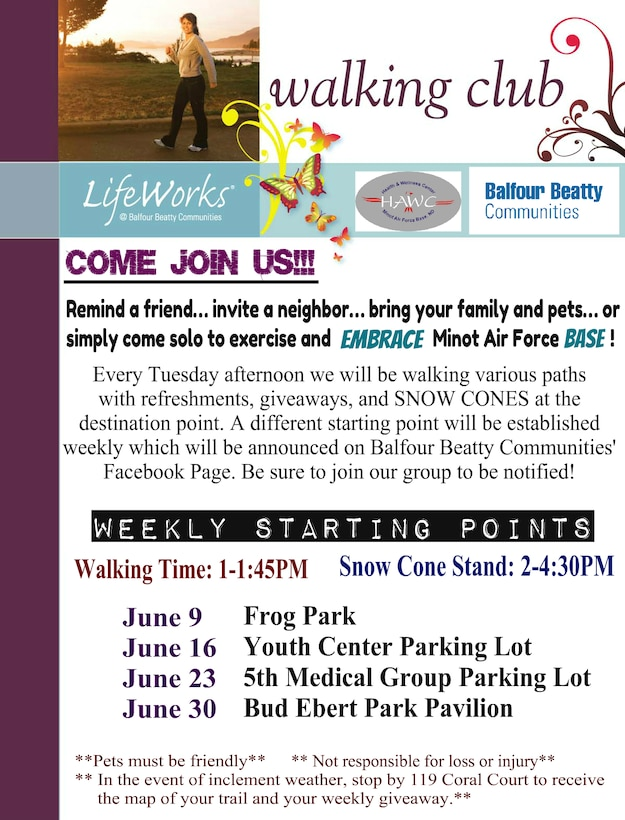 Check out the walking club flyer to meet new people and explore the great outdoors.