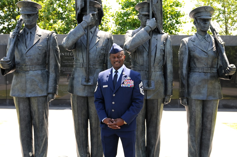 Chief Master Sgt. Harry Hutchinson, 81st Training Wing command chief, stands in front of the Air Force Honor Guard Memorial during a Capitol Hill visit, May 14, 2015, at the Air Force Memorial, Arlington, Va. During the visit, Keesler leadership met with Mississippi congressional representatives to discuss Keesler's growth and development, and its economic impact on the state. (U.S. Air Force photo by Airman 1st Class Duncan McElroy)