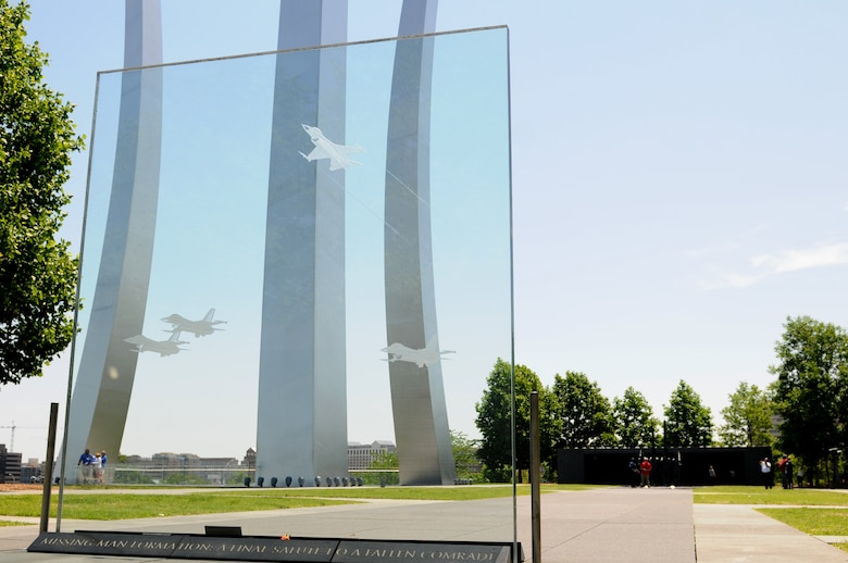 "A glass contemplation wall honoring the ""missing man formation"" sits on display, May 14, 2015, at the Air force Memorial, Arlington, Va. Keesler leadership visited the Air Force Memorial during their annual Capitol Hill visit, where they met with Mississippi congressional representatives to discuss Keesler's growth and development, and its economic impact on the state. (U.S. Air Force photo by Airman 1st Class Duncan McElroy)"