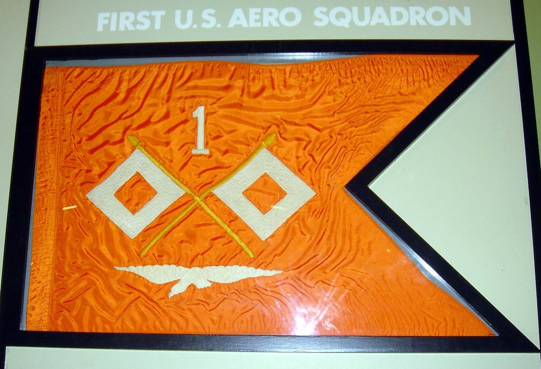 The first aviation guidon authorized was for the 1st Aero Squadron in 1916 while in service on the Mexican border. As aviation was originally part of the Signal Corps, this first guidon was orange with the Signal Corps crossed flags above an outstretched eagle. (Courtesy photo)