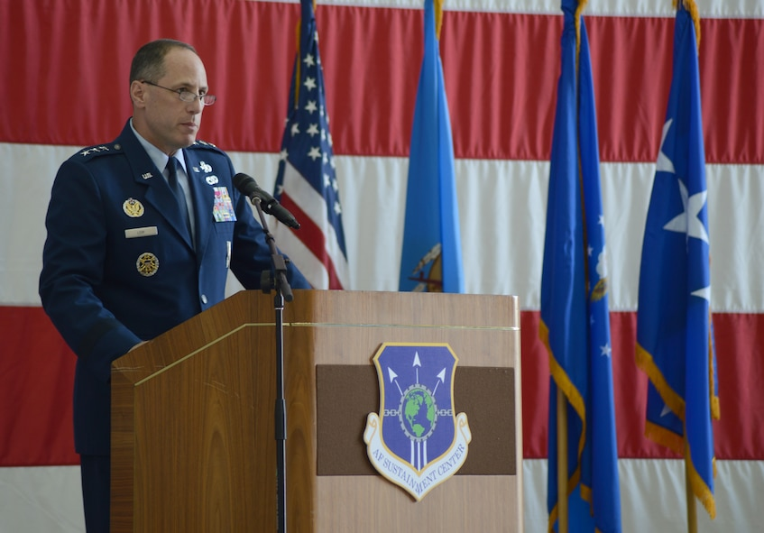 Lt. Gen. Lee Levy II, Air Force Sustainment Center commander, speaks to the crowd after General Janet Wolfenbarger, commander, Air Force Materiel Command, passed command of the AFSC to him during a change of command ceremony Friday at Tinker Air Force Base. Lt. Gen. Levy succeeds Lt. Gen. Bruce Litchfield, who will retire after 34 years of military service. As the AFSC commander, Lt. Gen. Levy is responsible for operations which span three air logistics complexes, three air base wings, two supply chain management wings, and multiple remote operating locations, incorporating more than 35,000 military and civilian personnel. In addition, he oversees installation support to more than 75,000 personnel working in 140 associate units at the three AFSC bases.