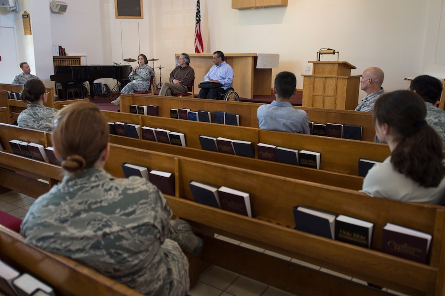 Representatives from Judaism, Christianity and Islam answer questions during a multi-faith panel during a 52nd Fighter Wing Resiliency Day on Spangdahlem Air Base, Germany, June 4, 2015. The 52nd FW Resiliency Day spotlighted base resources to assist Airmen and their families to develop stronger coping skills as part of the Comprehensive Airman Fitness initiative. (U.S. Air force photo by Staff Sgt. Christopher Ruano/Released)