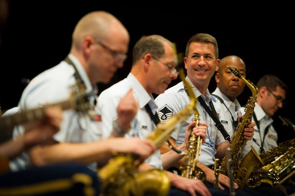 The Airmen of Note Music Director Master Sgt. Tyler Kuebler is all smiles at the start of their three days at The Great American Brass Band Festival in Danville, Kentucky. (U.S. Air Force photo by Staff Sgt Chad Strohmeyer/ released)