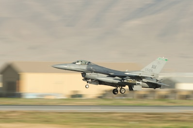 "A U.S. Air Force F-16 Fighting Falcon ""Triple Nickel"" aircraft assigned to the 555th Expeditionary Fighter Squadron from Aviano Air Base, Italy, prepares to land at Bagram Airfield, Afghanistan, June 3, 2015. The F-16 is a multi-role fighter aircraft that is highly maneuverable and has proven itself in air-to-air and air-to-ground combat. Members of the Triple Nickel are deployed in support of Operation Freedom's Sentinel and NATO's Resolute Support mission. (U.S. Air Force photo by Tech. Sgt. Joseph Swafford/Released)"