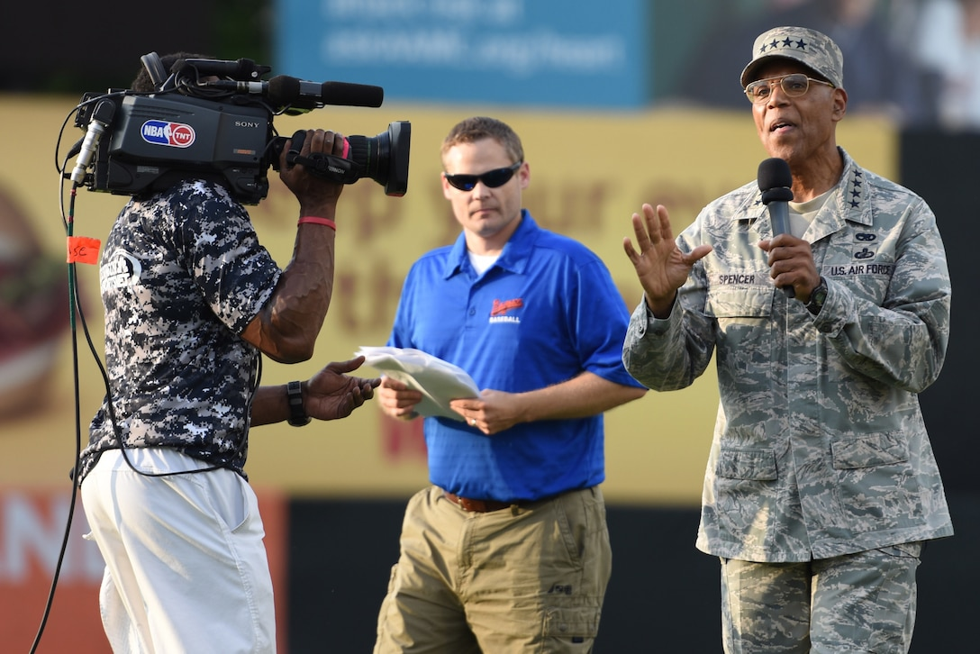 Air Force Vice Chief of Staff Gen. Larry O. Spencer makes opening remarks at the 3rd annual Amputee Warrior Softball Classic June 6, 2015, at Prince George's Stadium in Bowie, Md. (U.S. Air Force photos/Staff Sgt. Carlin Leslie)