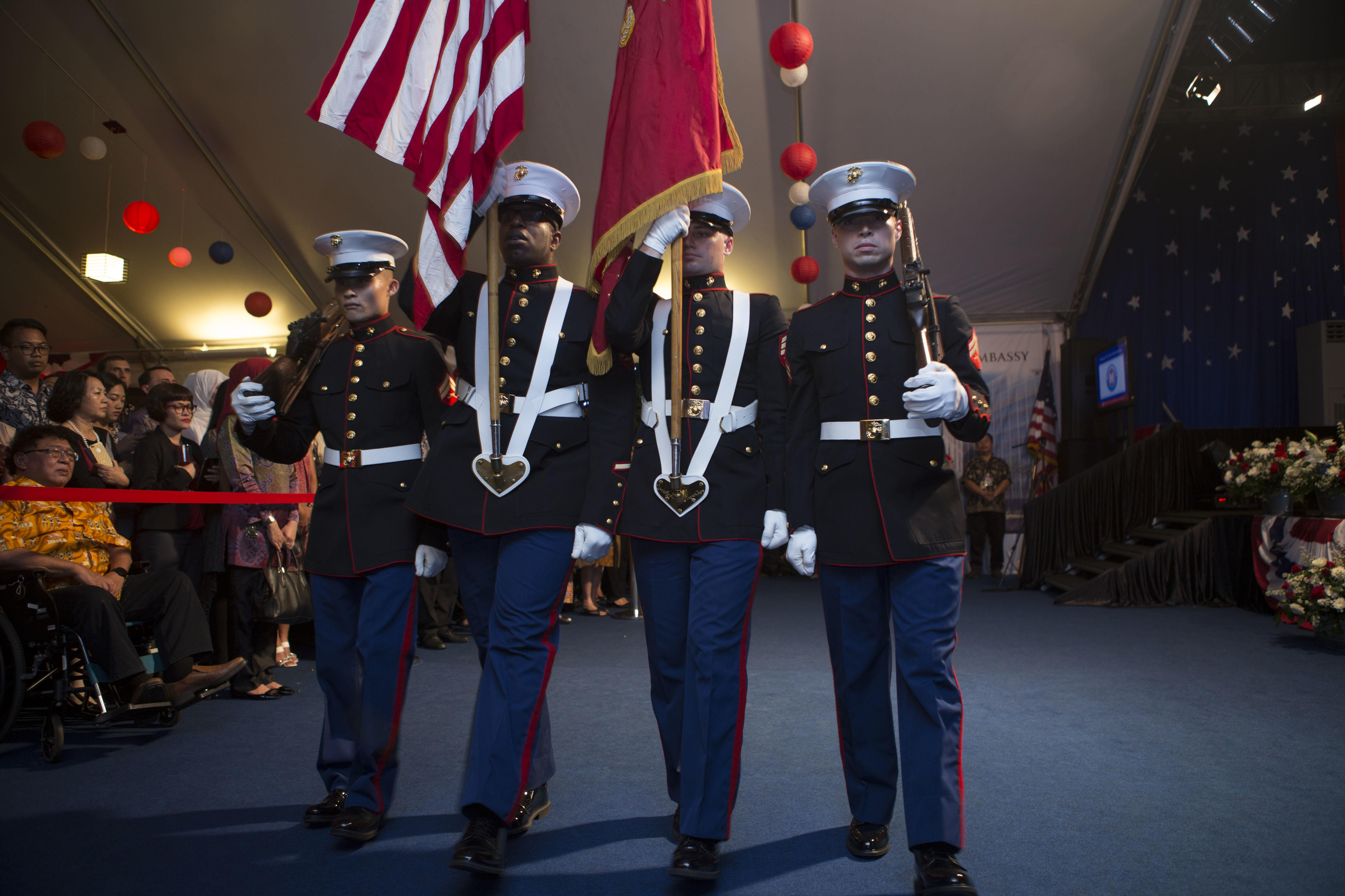 members from the marine security guard detachment jakarta color guard post the colors at the