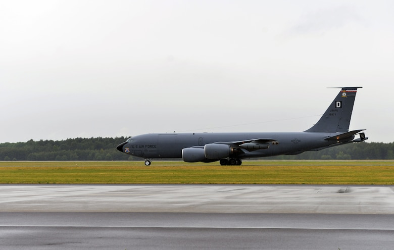A KC-135 Stratotanker assigned to the 100th Air Refueling Wing taxis down a runway, June 9 2015, at Powidz, Poland. The U.S. Air Force deployed four KC-135s to Poland from the 100th, 916th and 507th air refueling wings, as well as 14 F-16 Fighting Falcons from the 480th and 157th fighter squadrons, and three B-52 Stratofortress' from the 5th Bomb Wing in support of the multinational maritime exercise Baltic Operations 2015. (U.S. Air Force photo by Senior Airman Michael Battles)