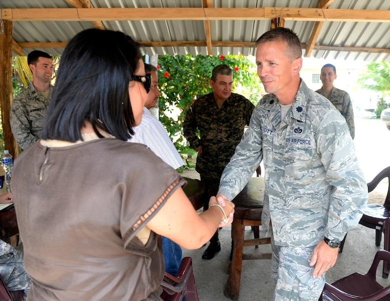 U.S. Air Force Lt. Col. Ryan Elliott (left), 823rd Expeditionary RED HORSE Squadron deputy commander, out of Hurlburt Field, Fla., and New Horizons commander, meets with Department of Colón Governor Gisell Padilla in Trujillo, Honduras, May 30, 2015. Elliott, a Grove City, Penn., native, held the meeting in order to give local leadership the opportunity to meet and answer questions of various New Horizons personnel prior to the official start of the exercise. New Horizons was launched in the 1980s and is an annual joint humanitarian assistance exercise that U.S. Southern Command conducts with a partner nation in Central America, South America or the Caribbean. The exercise improves joint training readiness of U.S. and partner nation civil engineers, medical professionals and support personnel through humanitarian assistance activities. (U.S. Air Force photo by Capt. David J. Murphy/Released)