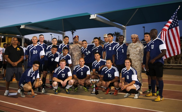 MCAGCC Marines compete in a soccer match against the United Arab Emirates Presidential Guard, ending their month long training in Twentynine Palms. Representing CLB-7 is 1stLt Tiffany Aguiar.
