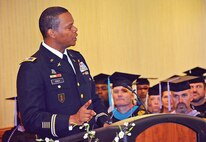 Col. Andrew Cole, Jr., Fort Riley Garrison Commander provides keynote remarks at the Combined Graduation Ceremony on May 21.