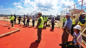 The U.S. Army Corps of Engineers Baltimore District hosted a tour of the STURGIS June 9, 2015 in Galveston, Texas for local officials, the Coast Guard and the Port of Galveston to explain the process of how the decommissioning of the barge will be completed. The Army Corps of Engineers also gave first responders an overview of the site and reviewed safety procedures.