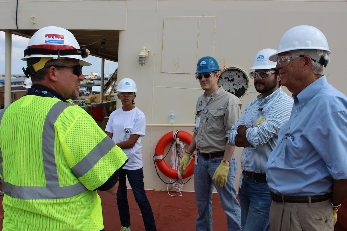 The U.S. Army Corps of Engineers Baltimore District hosted a tour of the STURGIS June 9, 2015 in Galveston, Texas for local officials, the Coast Guard and the Port of Galveston to explain the process of how the decommissioning of the barge will be completed. The Army Corps of Engineers also gave first responders an overview of the site and reviewed safety procedures.  (Photo by Brittany Bangert, USACE)