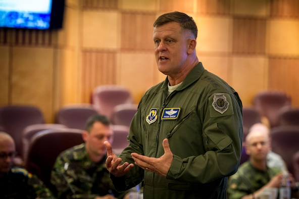 Gen. Frank Gorenc, the U.S. Air Forces in Europe and Air Forces Africa commander, speaks to senior enlisted and officers from multiple countries throughout Europe and Africa during a the inaugural International Professional Military Development (PMD) Symposium at Ramstein Air Base, Germany, June 4, 2015. The inaugural PMD course was designed to bring allied and partner nations together to exchange ideas and best practices with the goal of improving their militaries. (U.S. Air Force photo/Tech. Sgt. Ryan Crane)