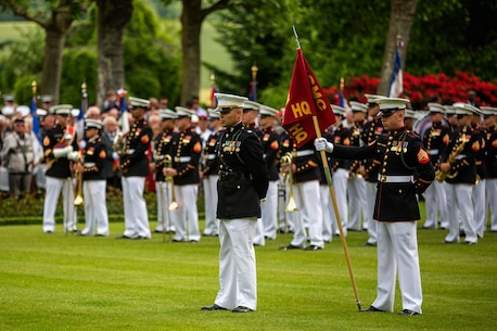 U.S. Marines from the 1st Marine Division and their French counterparts gather at Aisne-Marne American Cemetery to commemorate their fallen heroes in Belleau, France, on May 31, 2015. This Memorial Day ceremony was held in honor of the 97th anniversary of the Battle of Belleau Wood. (U.S. Marine Corps photo by Lance Cpl. Akeel Austin/Released)