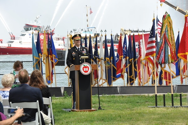 COL David Caldwell provides remarks during a Change of Command ceremony in which he assumed command of the Army Corps of Engineers, New York District.