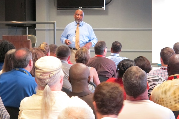 James Braxton, director, Office of Diversity and Leadership at Headquarters, U.S. Army Corps of Engineers conducts Sexual Harassment/Assault Response Prevention training for Huntsville Center employees June 9.