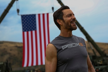 Tony Horton, the creator the fitness program P90X, speaks to Marines assigned to 3rd Battalion, 5th Marine Regiment, aboard Camp Pendleton, Calif., June 9, 2015. Horton believes Marines need to focus on nutrition and a wide variety of exercises to be ready for any mission as may be directed. (U.S. Marine photo by Cpl. Will Perkins/RELEASED)