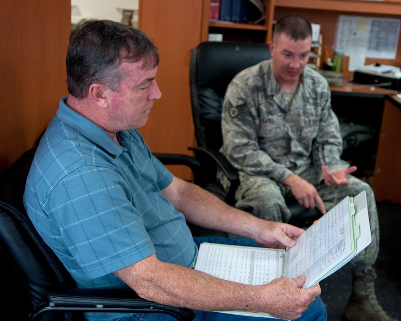 Richard Mullee, 90th MW Safety Office missile safety superintendent, reviews the 90th Missile Maintenance squadron checklists during the its annual weapons safety inspection June 9, 2015, on F.E. Warren Air Force Base, Wyo. The office reviews checklists and guidance from higher leadership to assist Airmen on the job with remaining safe in their work environment. (U.S. Air Force photo by Airman 1st Class Malcolm Mayfield)