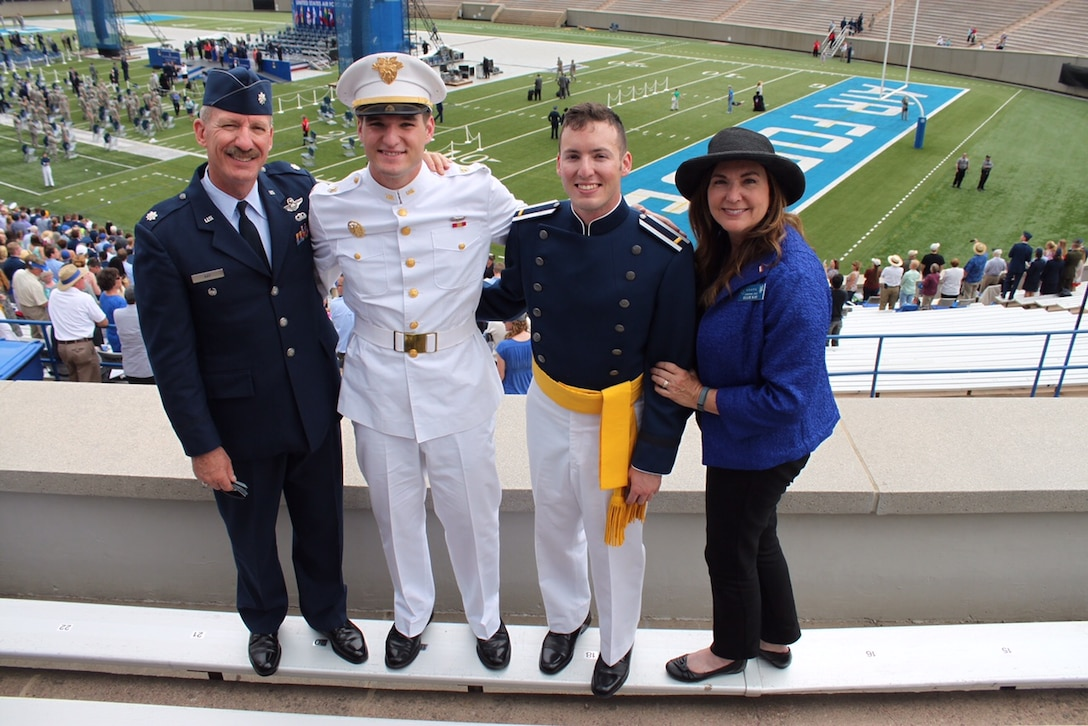Second Lt. Jon Kay, a 2015 U.S. Air Force Academy graduate, stands with (from left to  right) his father, retired Lt. Col. Bob Kay, a 1978 Academy graduate, his brother Josh Kay, a rising junior cadet at the U.S. Military Academy, and his mother Ellie Kay, after the Academy Class of 2015 graduation ceremony at Falcon Stadium May 28, 2015. (Courtesy photo)