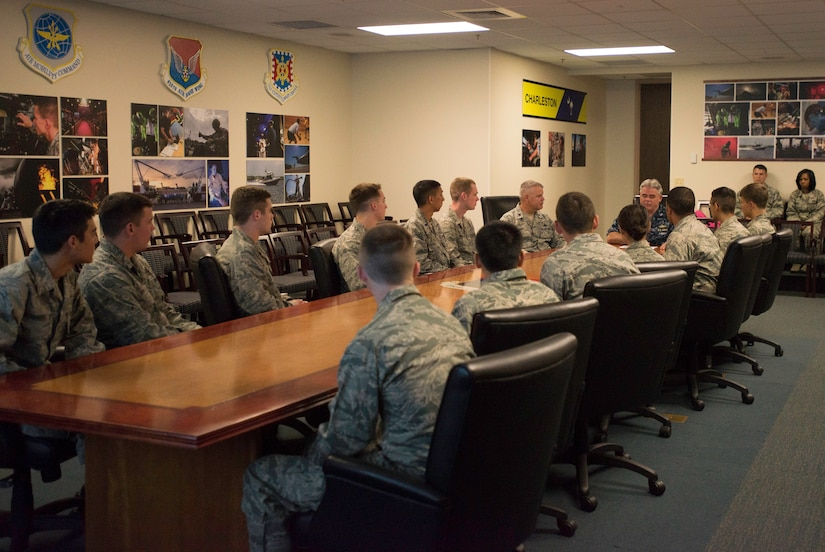 Capt. Timothy Sparks and Lt. Col. Christopher May give a group of cadets from the United States Air Force Academy in Colorado Springs, Col., and Reserve Officer Training Corps programs from across the United States  the Joint Base Charleston mission brief June 4, 2015 at JB Charleston, S.C.. The cadets are visiting JB Charleston for two weeks as part of Operation Air Force, which exposes them to a real-world Air Force environment and provides them the opportunity to see how base components work together to meet the mission. This is the first of three group scheduled to visit the base. (U.S. Air Force photo / Trisha Gallaway)