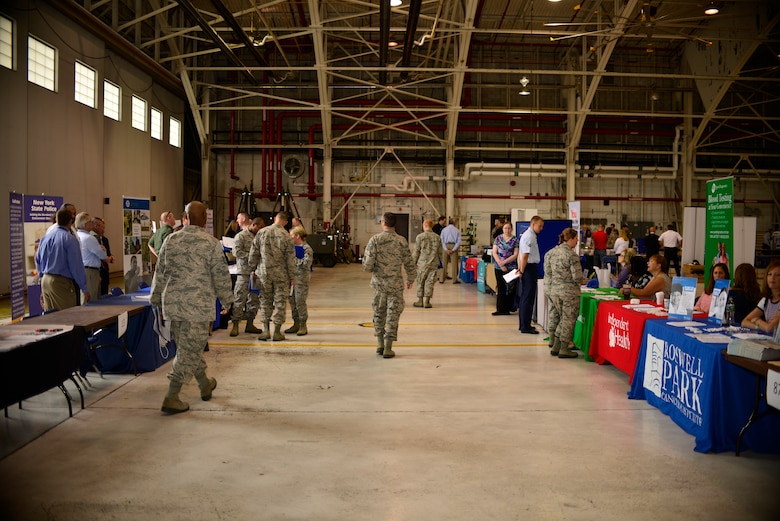 Members of the Niagara Falls Air Reserve Station participate in a career fair here, June 4, 2015. Representatives for more than 100 employers were available to take resumes for current openings and discuss qualifications and skills required for employment. (U.S. Air Force photo by Tech Sgt. Stephanie Sawyer)