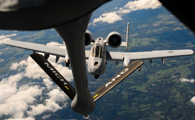 An Air National Guard KC-135 Stratotanker and A-10 Thunderbolt II prepare to refuel and continue with close air support for multiple nations participating in Saber Strike 15 June 9, 2015 in Latvian Air Space.Guardsmen from Maryland, Michigan and Pennsylvania came together to support Saber Strike 15 by providing aerial-refueling and close air support. Saber Strike 15 is a joint and multinational exercise designed to promote stability in the Baltic area and provide an opportunity for military members to sharpen their skills. (U.S. Air Force photo/ Staff Sgt. Armando A. Schwier-Morales)