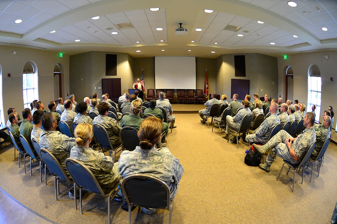 MCGHEE TYSON AIR NATIONAL GUARD BASE, Tenn. - More than 60 lieutenant colonels studying with the Air War College seminar at the I.G. Brown Training and Education Center here, June 4, 2015, listen to retired Air Force Capt. William Robinson, the first enlisted POW of the Vietnam War, who shared his experiences. The officers were part of the AWC's fourth seminar on campus for the Air National Guard and Air Force Reserve Command, which included one Marine Corps officer in attendance. (U.S. Air National Guard photo by Master Sgt. Mike R. Smith/Released)