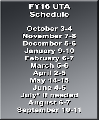 The 507th Air Refueling Wing leadership team announced the fiscal 2016 Unit Training Assembly Dates here June 10. (U.S. Air Force/graphic)