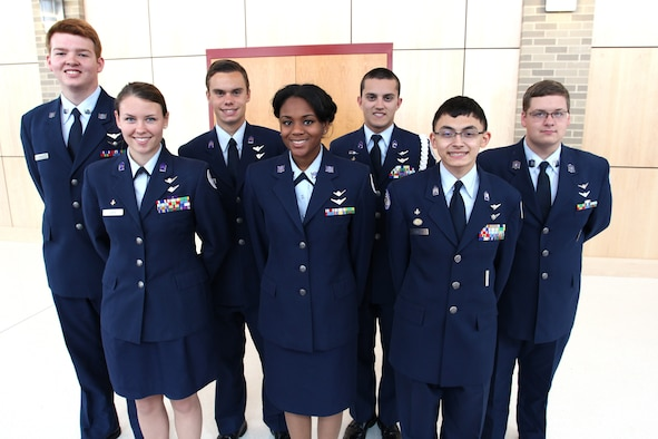 Air Force JROTC Cadet Moriah Graham (front center) is the first African-American high school student in the state of Delaware to have earned a private pilot license. Moore is pictured with fellow senior flight cadets (from left) Colin Correia, Liz Judge, Jonathan Hesterman, James Maier, Steven Sanchez and Philip Moore. Judge, Hesterman, Maier and Sanchez hold private pilot licenses, and Moore is currently pursuing his license. (Contributed photo/cleared)