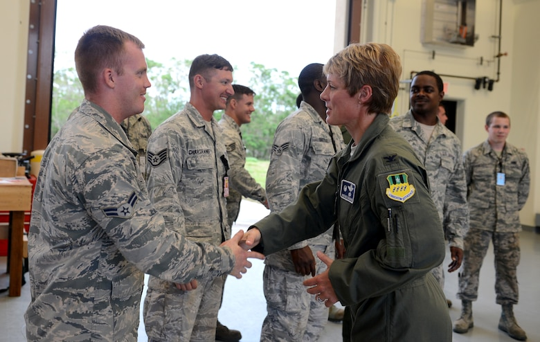 Col. Kristin Goodwin, 2nd Bomb Wing meets with Airmen from the 36th Munitions Squadron June 3, 2015, at Andersen Air Force Base, Guam. Goodwin toured Andersen to meet with the units and Airmen in support of U.S. Pacific Command's Continuous Bomber Presence mission. (U.S. Air Force photo by Airman 1st Class Arielle Vasquez/Released)