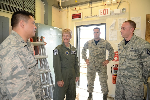 Col. Kristin Goodwin, 2nd Bomb Wing commander, visits the Consolidated Tool Kit Building June 5, 2015, at Andersen Air Force Base, Guam. Goodwin toured Andersen to meet with the units and Airmen in support of U.S. Pacific Command's Continuous Bomber Presence mission. (U.S. Air Force photo by Airman 1st Class Arielle Vasquez/Released)