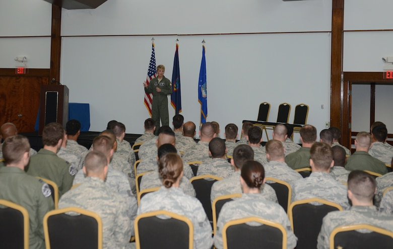 Col. Kristin Goodwin, 2nd Bomb Wing commander, speaks to Airmen during an all call June 3, 2015, at Andersen Air Force Base, Guam. Goodwin toured Andersen to meet with the units and Airmen in support of U.S. Pacific Command's Continuous Bomber Presence mission. (U.S. Air Force photo by Airman 1st Class Arielle Vasquez/Released)