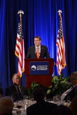 Defense Secretary Ash Carter makes remarks on the challenges facing America's security while expressing gratitude for receiving the Distinguished Service Award at the Center for the National Interest in Washington, June 9, 2015. DoD photo by Air Force Master Sgt. Adrian Cadiz