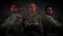 Senior Airman Gregory Tamuzza, 823rd Maintenance Squadron rescue specialist, left, Capt. Lance Bacon, 99th Medical Operations