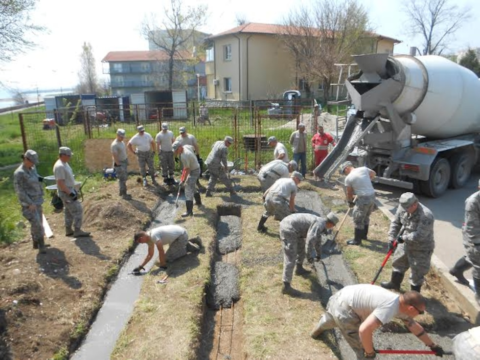Alabama Guardsmen from the 117th Air Refueling Wing Civil Engineering Squadron renovate a Romanian medical clinic as part of a Deployment for Training mission April 2015 .  (Courtesy Photo/Released)