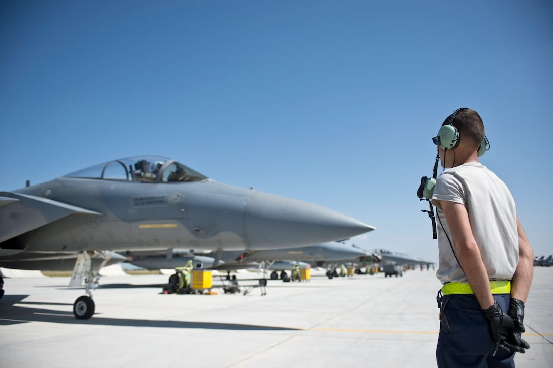 A 748th Aircraft Maintenance squadron Airman stands near a row of F-15 Eagles from the  493rd Fighter Squadron, Royal Air Force Lakenheath, England, prior to a mission during Anatolian Eagle 15 at 3rd Main Jet Base, Turkey, June 10, 2015. Approximately 250 personnel and 12 F-15 aircraft from the 48th Fighter Wing, RAF Lakenheath, England, are participating in the two-week exercise. (U.S. Air Force photo by Tech. Sgt. Eric Burks/Released)