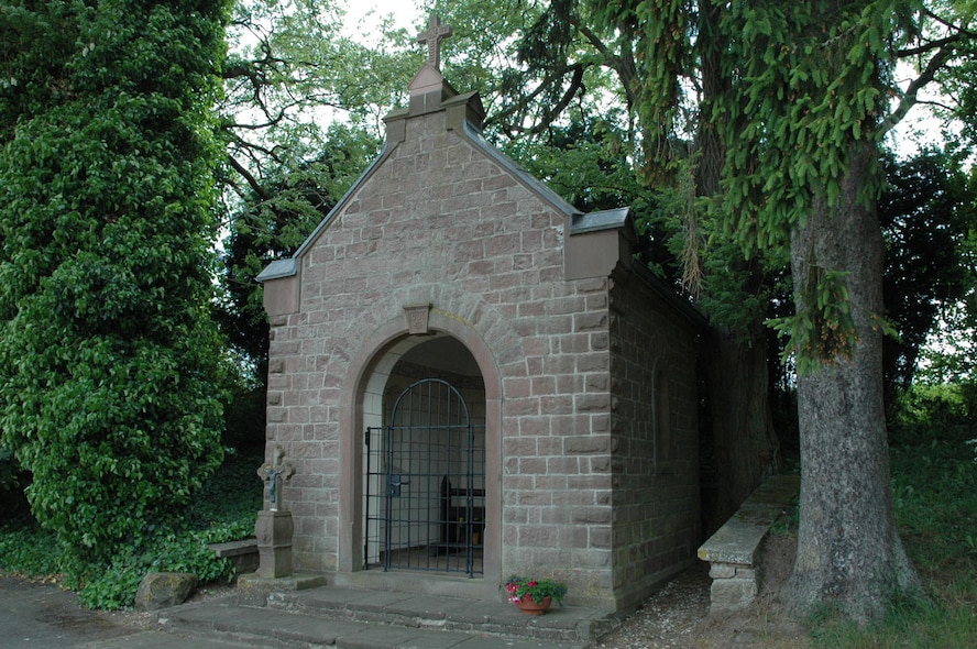 A small chapel is located on the outskirts of Binsfeld, close to the base fence. Local residents from Binsfeld and elsewhere come here to rest and pray. The chapel has a rich history. A group of honorary commanders to the 52nd Fighter wing are inviting base members on a free sightseeing tour of Binsfeld, 2 p.m., June 12, 2015, pointing out community highlights. (Courtesy photo)