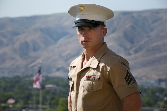 Sgt. Cody Leifheit, a Marine recruiter in Lewiston, Idaho, responded to a 19-year-old man hanging himself from a tree outside his house June 7, 2015. Without hesitation, the 28-year-old infantry Marine from Ferndale, Washington climbed up the tree 25 feet and took hold of the man, who wasn't breathing and lacked a pulse. Leifheit worked to keep him alive until first responders arrived, continuously performing chest compressions as the man faded in and out. Despite spending 48 hours in a coma, the man survived. (U.S. Marine Corps photo by Sgt. Reece Lodder)